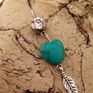 Gypsy Soul Belly Ring Heart Turquoi..
