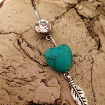 Gypsy Soul Belly Ring Heart Turquoise Wild Feather Belly Ring Western Country