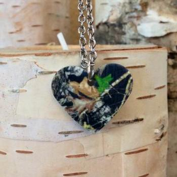 Mossy Oak Heart Necklace Camo Camouflage Country Girl Country Necklace Backwoods Real Tree